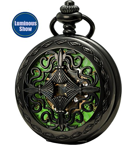 Reloj de bolsillo SEWOR, para hombre, estilo esqueleto tallado, luminoso, mecánico