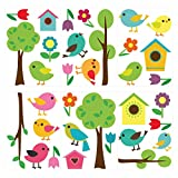 Wandtattoo Kinderzimmer Wandtattoo Set Bunte Vögel mit Vogelhäuschen, Blumen un