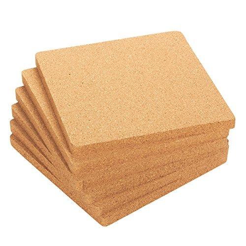 Juvale 6Kork Untersetzer Set-Korkboard quadratisch, Platzdeckchen Küche Hot Pads heißen Töpfen, Pfannen Wasserkocher, 17,8x 17,8x 1,3cm Hot-pad
