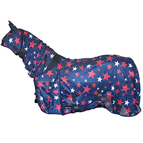 Best On Horse Star Print Combo Fly Rug Full Neck Face Ears Bug Protection Sheet Grey