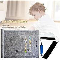 AIRGONE Tappeto di stoccaggio per Puzzle con Fino a 2000 Pezzi di Puzzle con Custodia per Pompa Gonfiabile per Bambini e Adulti Nero - 1500pezzi