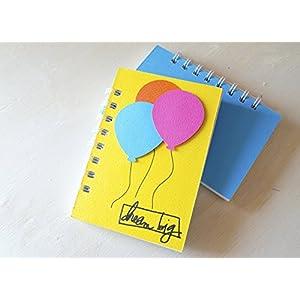 Dream big - ballon - Notizbuch (Größe 14 x 9,5 cm) - Metallspirale weiße -Handemade Notizbuch - mit der Scrapbooking Technik realisiert - Geschenkidee.