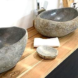 wohnfreuden Naturstein Seifenschale aus Flusskiesel ✓ Seifenablage ca 12 cm ✓ Dekoration für Naturstein Waschbecken aus Granit Kiesel