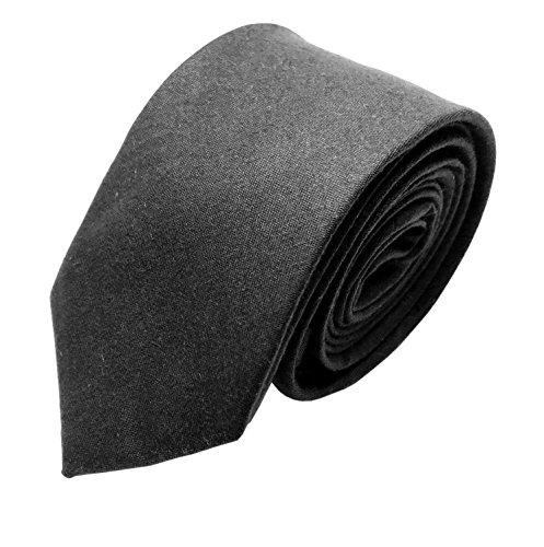 GOOD.designs Herren Krawatte aus Baumwolle in verschiedenen Farben - handgenähte Baumwoll-Krawatte, Slim-Fit-Line Tie (Schwarz) (Tragen Farbe-krawatte)