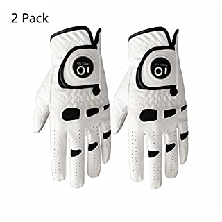 Men's Golf Glove Left Hand Right with Ball Marker Value 2 Pack, Weathersof Grip Soft Comfortable, Fit Size Small Medium ML Large XL(X-Large, Worn on Right Hand)