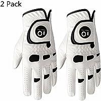 Finger Ten Guantes de golf para hombre de mano izquierda derecha con marcador de bola, paquete de 2, agarre suave y cómodo, talla pequeña, mediana, grande, XL, Medium