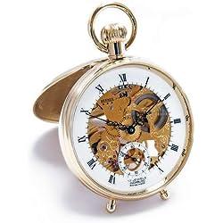 Montre à Gousset Bernex (fabriquée en Suisse Squelette Plaqué or Open Face Horloge de bureau/montre de poche
