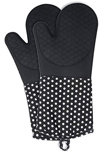 Wenko Topfhandschuhe Silikon, Ofenhandschuhe, 1 Paar, Baumwolle, 18.5 x 37.5 cm, schwarz