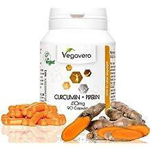 Curcumin + Piperin/Bioperin Extrakt Vegavero | Laborgeprüft | 90 hochdosierte Kapseln | 95% Curcuminoide| Vegan und OHNE Zusatzstoffe | Optimale Wirkstoffkombination