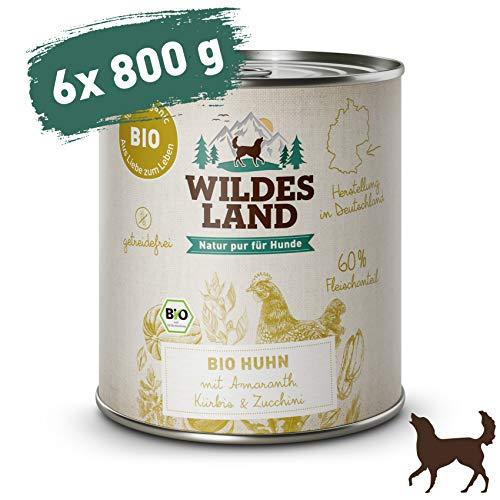 Wildes Land | Nassfutter für Hunde | Bio Huhn | 6 x 800 g |Getreidefrei & Hypoallergen | Extra hoher Fleischanteil von 60{2d49eda8648bcb69ef3ce02ab48f64343a99a35a7a7e98357b7d8ed0b33c5658} | 100{2d49eda8648bcb69ef3ce02ab48f64343a99a35a7a7e98357b7d8ed0b33c5658} zertifizierte Bio-Zutaten | Beste Akzeptanz und Verträglichkeit