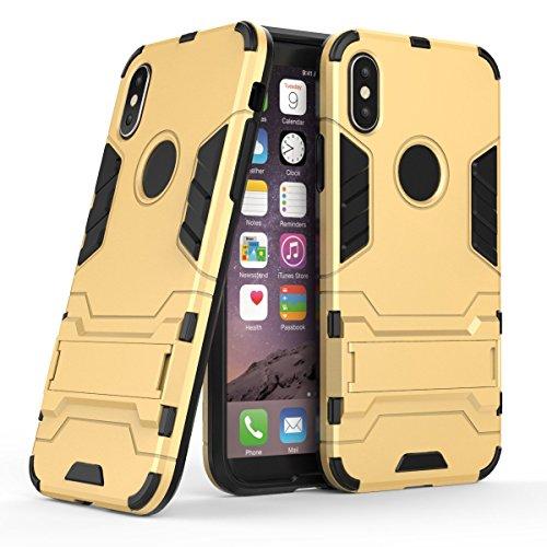 Custodia iPhone X, Voguecase 2 in 1 Duro Cover Case Difensore Bumper Antiurto Posteriore with Assorbimento-Urti [Kickstand] Armatura Cell Cover Duro PC + Morbido TPU Leggero Gomma Protettivo Custodia  2 in 1-doro