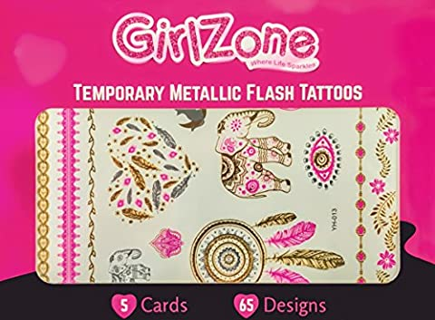 TEMPORARY FLASH TATTOOS - 5 Card Pack - 65 Designs – Metallic Tattoos for Kids, Girls, Teens & Young Adults. Makes A Great Gift & Birthday Present Idea For All
