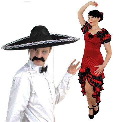Paare Spanisch MARIARCHI & Salsa Tänzerin Fancy Dress Kostüm - Damen Rot Rüschen Rumba Kleid + Rose Haarteil | Herren Groß Schwarz Sombrero + Fliege + Schnurrbart von Ilovefancydress® mexikanischen (in Klein - X (National Fancy Dress Kostüm)