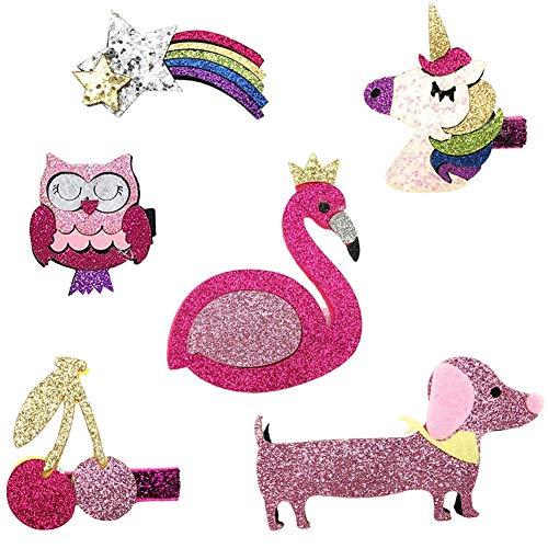 mciskin 6 stk mehrfarbige Haarspangen für Mädchen mit verschiedenen Designs:Einhorn,Eule,Regenbogen,Flamingo,Hund,Kirsche.Funkeln-Haarspangen