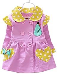 DELEY Niñas de Lunares de la Primavera de Doble Botonadura Trinchera de la Chaqueta de Abrigo Vestido de Outwear