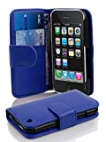 Cadorabo - Book Style Wallet Design for Apple iPhone 3 / 3G / 3GS with 2 Card Slots and Money Pouch - Etui Case Cover Protection in NAVY-BLUE