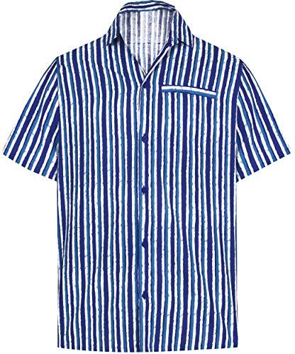 LA LEELA Männer Hawaiihemd einheitliche Outfit Thema-Partei Hirsch Arbeit Bürokleid mäßige Abnutzung Urlaub XL-Brustumfang (in cms):121-132 Blau_AA156