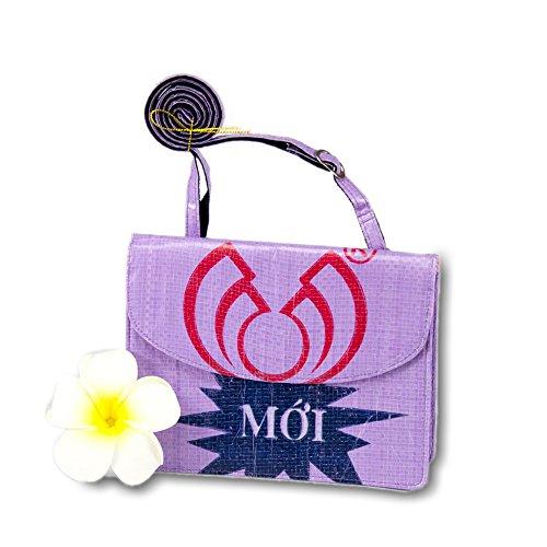 Upcycling Handtasche \'Fisch violett\' - Fair Trade Tasche aus Fischfuttersack - Design Fairtrade Recycling
