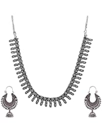 Ganapathy Gems Silver Metal Strand Necklace Set For Women (GPJC39)