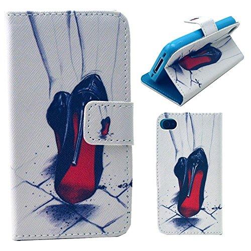 HUANGTAOLI Custodia in Pelle Flip Case Cover per Apple iPhone 4/4S Pellicola Protettiva Schermo & Stylus (LOVE) C119