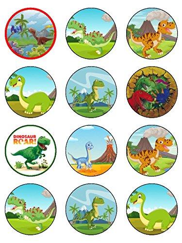 Snowflakes Cake Toppers 24 Assorties Dinosaure Premium Papier de Riz pour gâteaux (4.5cms x 4.5 cms)