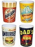 alles-meine.de GmbH 4 Stück _ 3 in 1 - Trinkbecher / Zahnputzbecher / Malbecher - Becher -  Retro Essen & Burger  - 350 ml - Trinkglas aus Kunststoff Plastik Melamin - für Erwa..