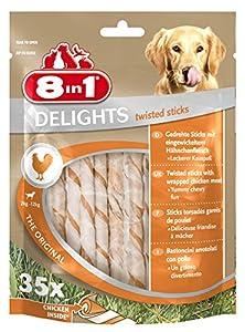 8in1 Delights Twisted Sticks - Sticks torsadés à Mâcher garnis de poulet pour Chien - 35 pièces