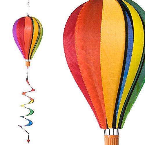 CIM Windspiel - Satorn Balloon Twister Rainbow - wetterbeständig - Ballon:Ø25cm x 35cm, Korb: 4cm x 3.5cm, Spirale: Ø10 cm x 75cm - Inklusive Aufhängung