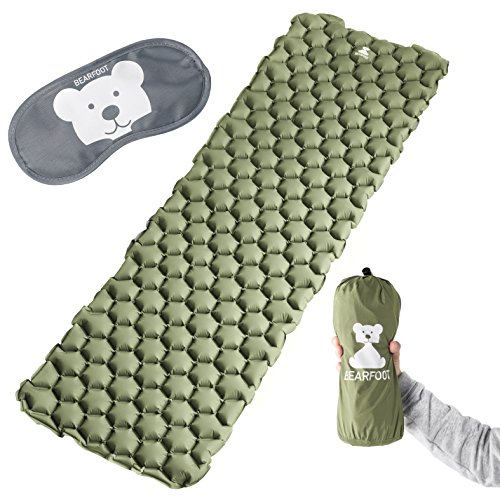 BEARFOOT Ultraleichte Schlafmatte Isomatte Luftmatratze mit Luftzellen für Outdoor Camping, Reisen, Hiking, Backpacking, Strand - ultrakompakt (Grün)
