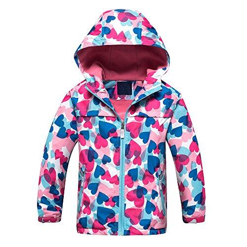 Echinodon Mädchen Jacke mit Fleecefütterung warm wasserdicht Winddicht atmungsaktiv Kinder Regenjacke Übergangsjacke Wanderjacke Trekkingjacke 110