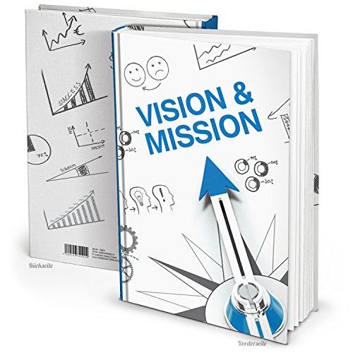 XXL Notizbuch blau weiß DIN A4 MISSION VISION KOMPASS Blanko-Buch Organizer Business Blanko-Buch Ziele Management Karriere Geschenkbuch Notebook HARDCOVER Büro-Planer
