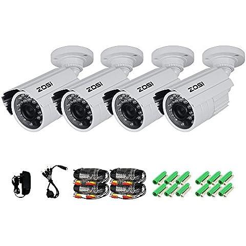 ZOSI HD 1000TVL 4pcs Cámaras Bala Kit Sistema de Vigilancia Sistema de Seguridad Exterior / Interior 42pcs IR Leds Día / Noche Lente 3.6mm