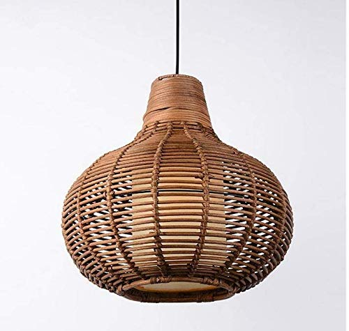 Lightceiling Lampshade Lighting Chandelier Handmade Coffee Wicker Rattan Gourd Shade Pendant Light Fixture Rustic Asian Hanging Ceiling Lamp Dining Table Room Restauran -
