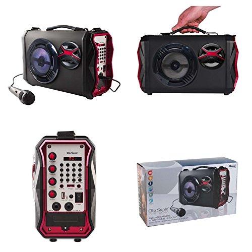 Tragbarer Bluetooth Lautsprecher Profi Karaoke Anlage Subwoofer Musik Box Tragbar Party-Anlage (USB Port, Karten Slot, LED Licht, Echo Effekt, Aufnahme Funktion, Recorder, Mikrofone)