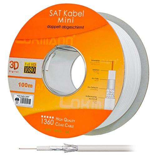HB Digital 100m Koaxial SAT Kabel CCS Weiß extra dünn 4,6mm Ø Koax Kabel Antennenkabel 100dB 2-fach geschirmt für DVB-S / S2 DVB-C und DVB-T BK Anlagen Mini
