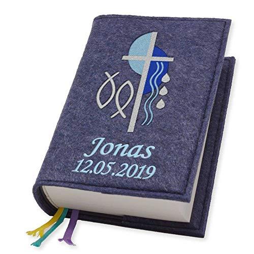 Evangelische Gesangbuchhülle Gesangbuch Kreuz 2 blau Filz mit Namen bestickt mittlere Ausgabe, Farbe:dunkelblau meliert