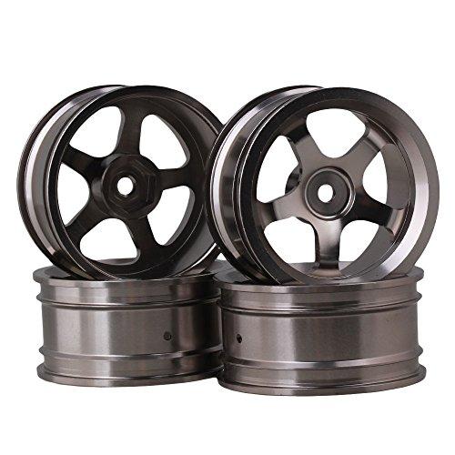 BQLZR Silver Grey Upgrade Teile Aluminiumlegierung RC 1:10 auf Road Racing Car Felgen mit 5-Speichen-Pack von 4
