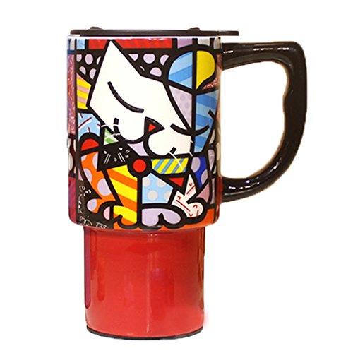 RJLI Reisebecher rüge, Dekantierer & Karaffen Kreative Tassen bemalte Keramikbecher große Becher mit Deckel Löffel personalisierte Paar Tassen Mode Kaffee Milch Tassen Krüge (Color : Cat-Like) -
