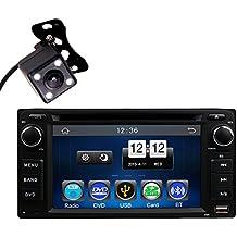 HitCar Universal coche en Dash DVD reproductor MP3MP4unidad principal de radio Bluetooth manos libres con cámara de visión trasera para Toyota Corolla EX CAMRY RAV4Prado Hilux Vios Echo Land Cruiser sin GPS