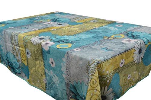 CIRAD Tischdecken Margarita Türkis schmutzabweisend Farben im Frühjahr Dekoration 300 x 150 cm