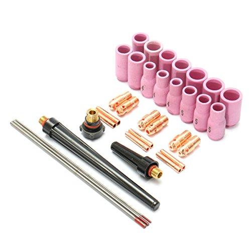 KUNSE 33Pcs Tig Saldatura Torcia Accessori Ugello Parte Kit per Wp9 1.6mm, 2.4mm 3.2mm