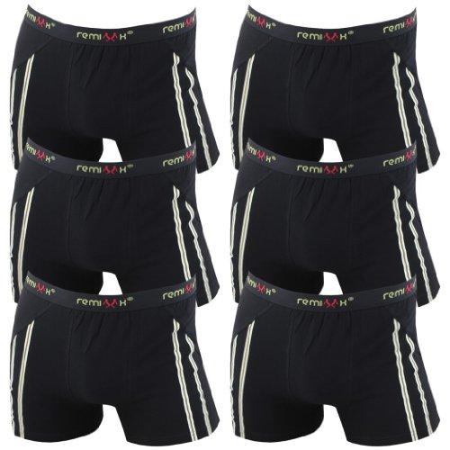 REMIXX 6er Pack Herren Retroshorts Boxershorts 070 schwarz dunkelblau Mehrfarbig, Farbe:schwarz;Größe:XL