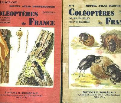 ATLAS DES COLEOPTERES DE FRANCE - EN DEUX FASCICULES - FASCICULE 1 : CARABES STAPHYLINS DYTIQUES SCARABEES - FASCICULE 2 : TENEBRIONS BUPRESTES LAMPYRES COCCINELLES TAUPINS LONGICORNES.