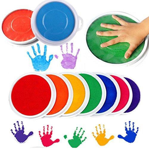 Wokee Farben Waschbare Fingerfarbe,DIY Stempelkissen Stempel Finger Malerei Handwerk Große Finger Paint Kit, Perfekt für Ostern Geschenke Runde Für Kinder (Kit Kinder-paint)