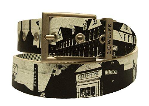Lowlife of London gebrochenen London Leder Gürtel wendbar Print Gr. Medium, schwarz / weiß (Print Reversible Belt)