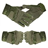 Yihya Traspirante Anti-Scivolo Guanti - Tattici Militari Sportivi Tactical Outdoor Sport Fitness Barretta Airsoft Pesca Palestra Caccia Equitazione Completa Finger Guanti Gloves --- army green - M