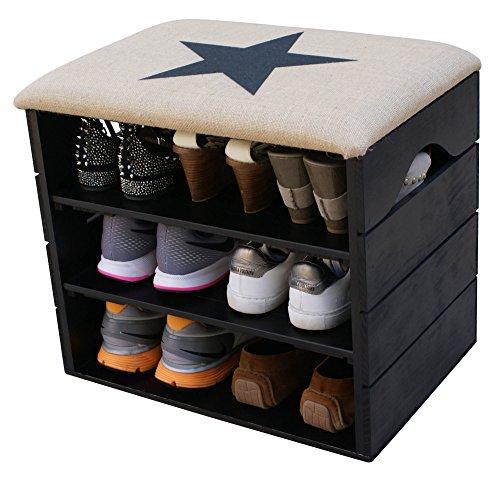 Scarpiera (nero) - ottima, organizer per scarpe in legno vintage, deposito, armadietto, panca di sostegno, con seduta morbida, adatta per l'ingresso e il corridoio. legno nordico solido - liza - 51 x 45 x 36 cm (stella nera)