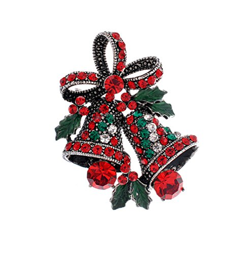 Hosaire 1X Fashion Elegant Diamond Christmas Bell Bow Butterfly Knot Wedding Bridal Brooch Pin Rhinestone Covered Scarves Shawl Clip For Women's Ladies Jewelry