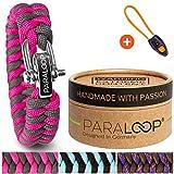 PARALOOP ORIGINAL  Paracord Armband für Frauen + Anhänger mit Signalpfeife  in Handarbeit geflochten  mit Geschenkbox  Verschluss aus Edelstahl  Armbänder Damen  Pink Grau