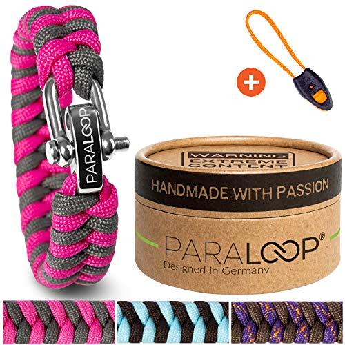 PARALOOP® ORIGINAL ▪ Paracord Armband für Frauen + Anhänger mit Signalpfeife ▪ in Handarbeit geflochten ▪ mit Geschenkbox ▪ Vers...
